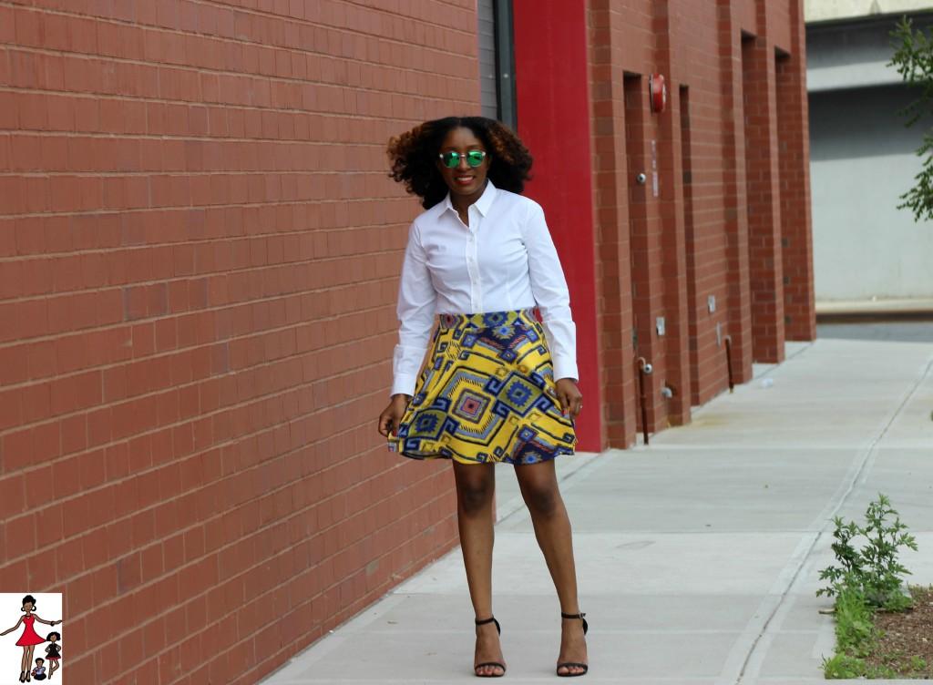 Yellow Skater skirt and white shirt