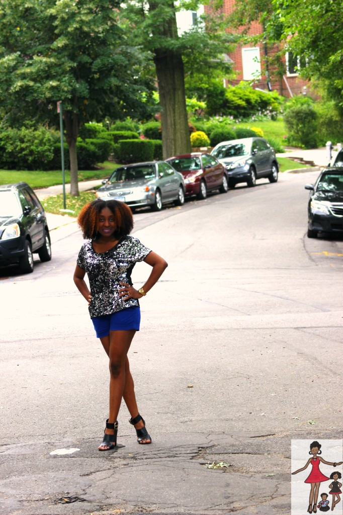 Sequins top and cobalt blue shorts Rattles and Heels