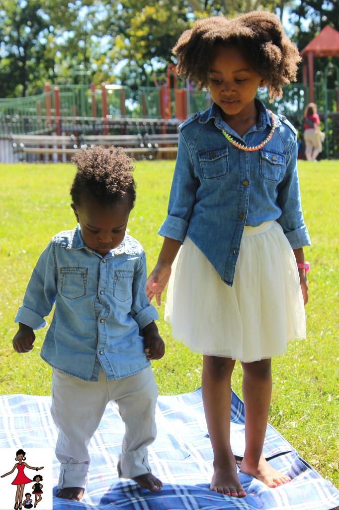 Sibling Photos in Chambray Shirts