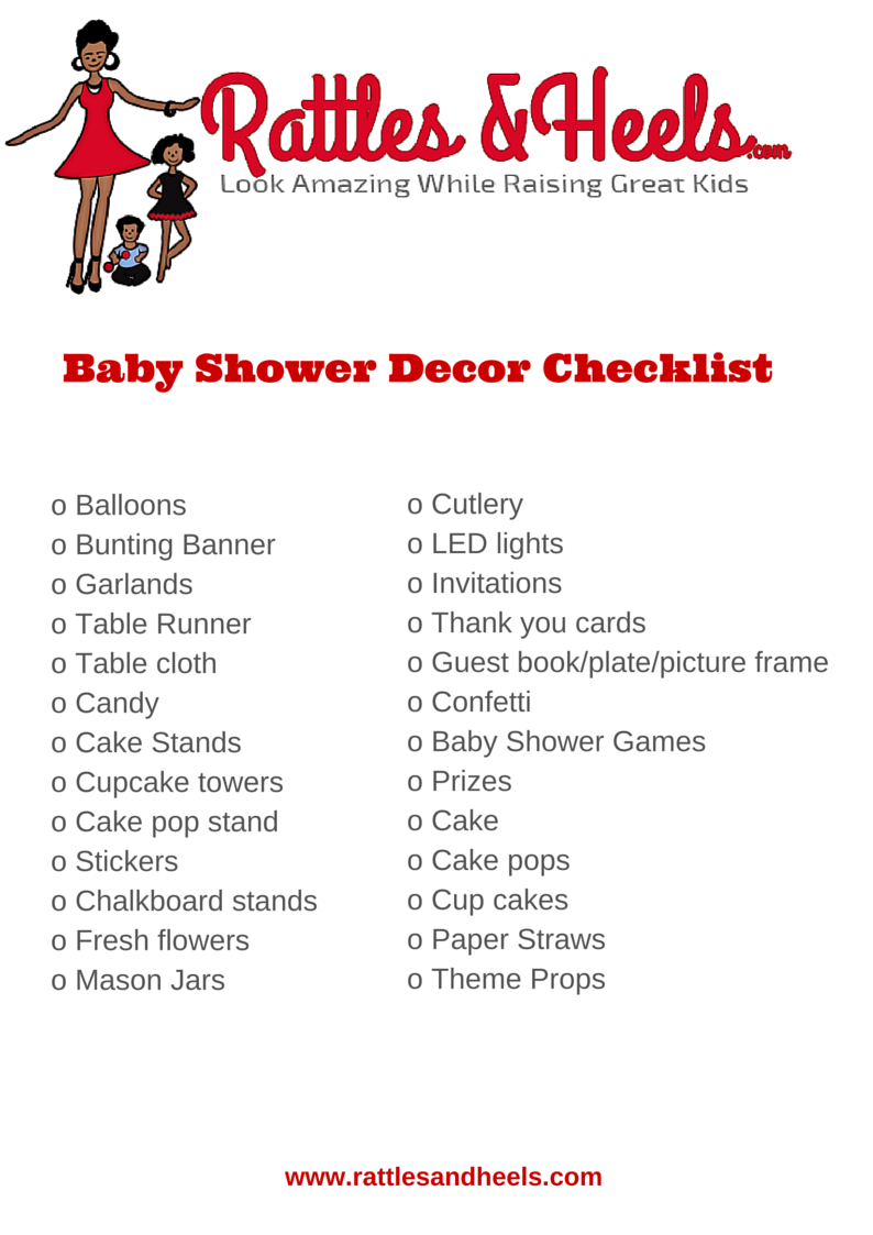 Fabulous baby shower decorations checklist printable for Baby shower decoration checklist