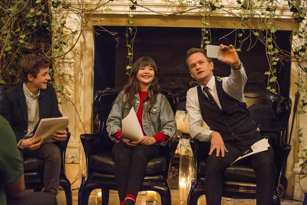 Neil Patrick Harris reads Christmas stories and from the script of A Series of Unfortunate Events (Netflix series) at the New York Public Library