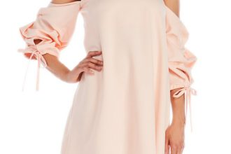 COld Shoulder Balloon Sleeve Dress