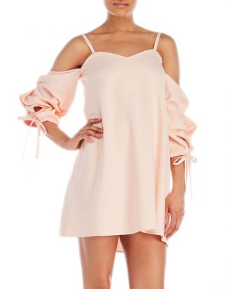 COld Shoulder Balloon Sleeve Dress