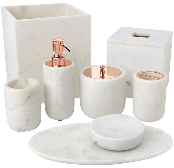 For the love of rose gold home decor accents rattles heels for Marble bathroom accessories