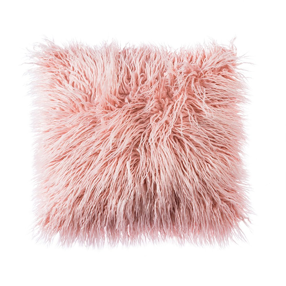 Rose Gold Faux Fur Throw Pillow