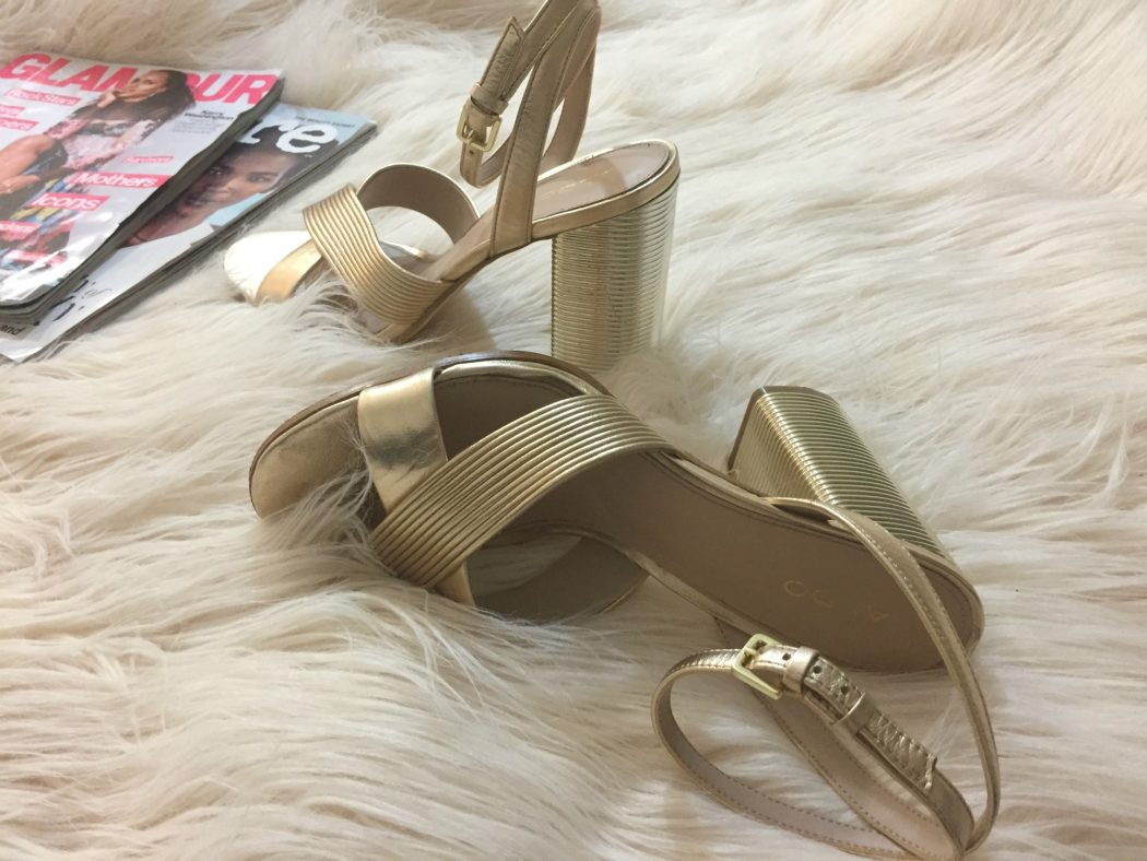 ALDO Petrusa Gold Block Heels