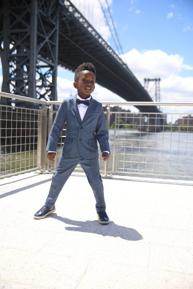 Dapper Style: Boys Suit with Leather Sneakers