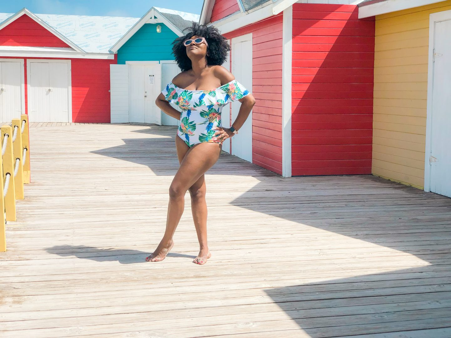 off-the-shoulder swimsuit for moms