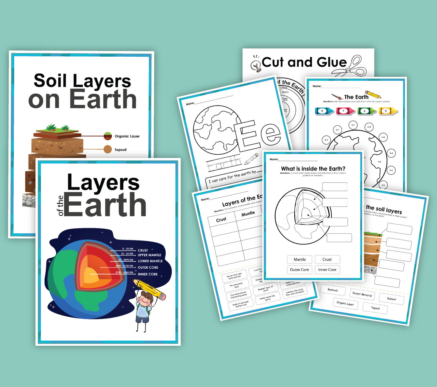 FREE Layers of the Earth Printable Worksheet Packet