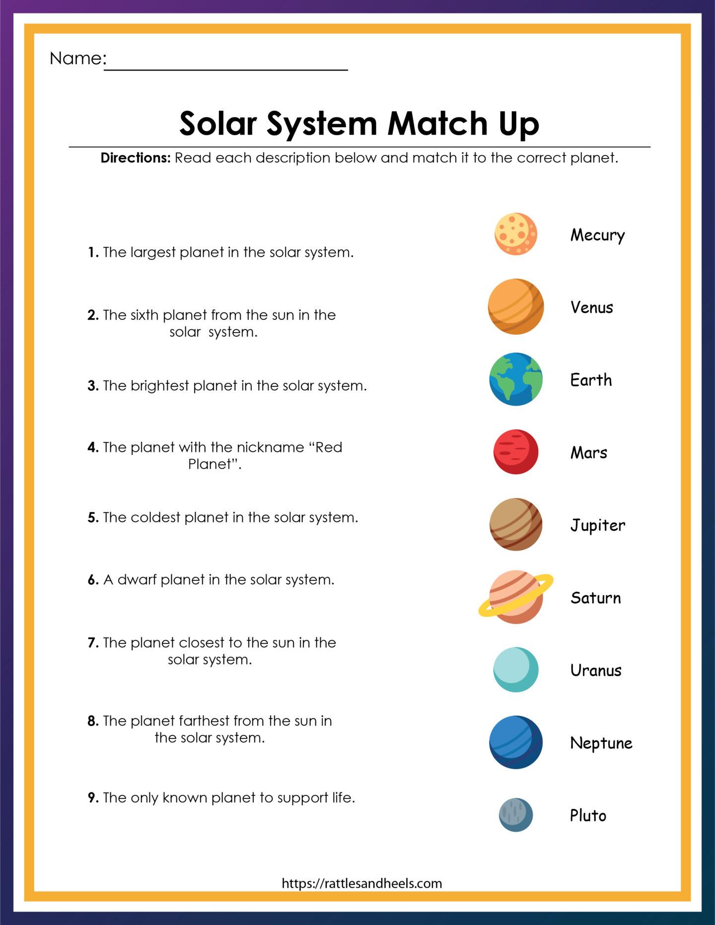 Free Solar System Worksheets for Kids - Rattles & Heels
